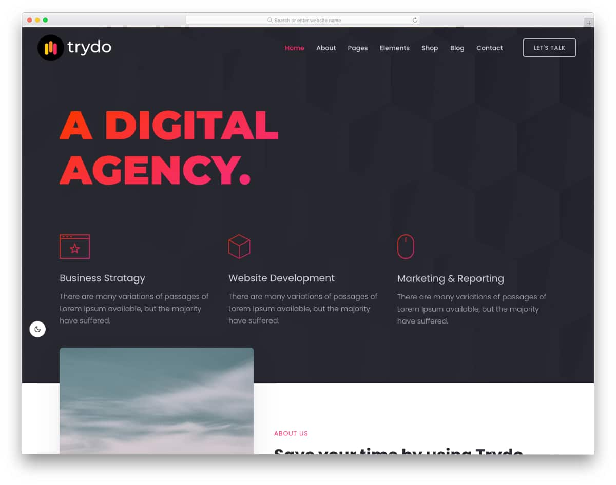 corporate-style agency WordPress theme