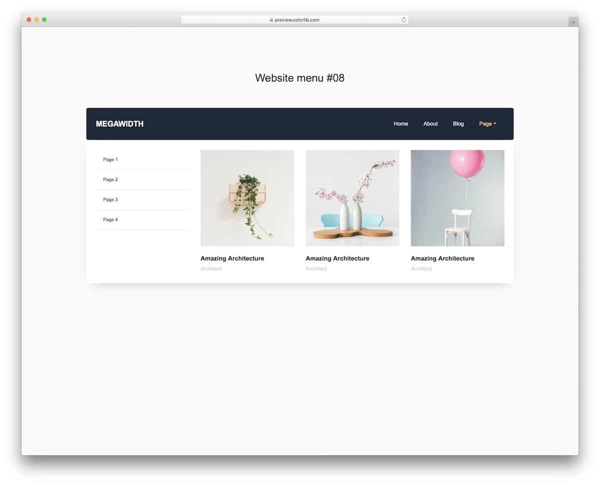 bootstrap navbar with multiple categories