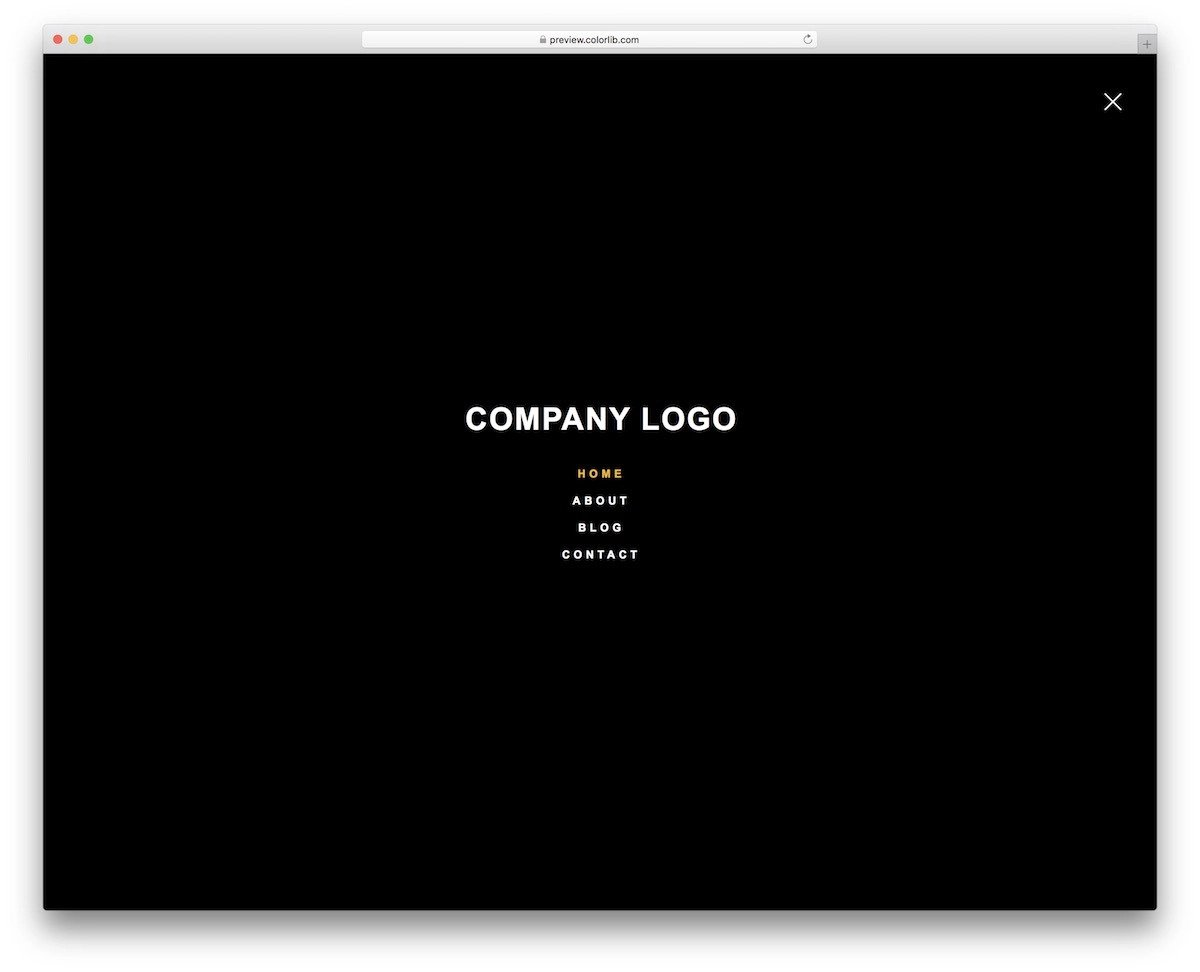 full-page bootstrap menu