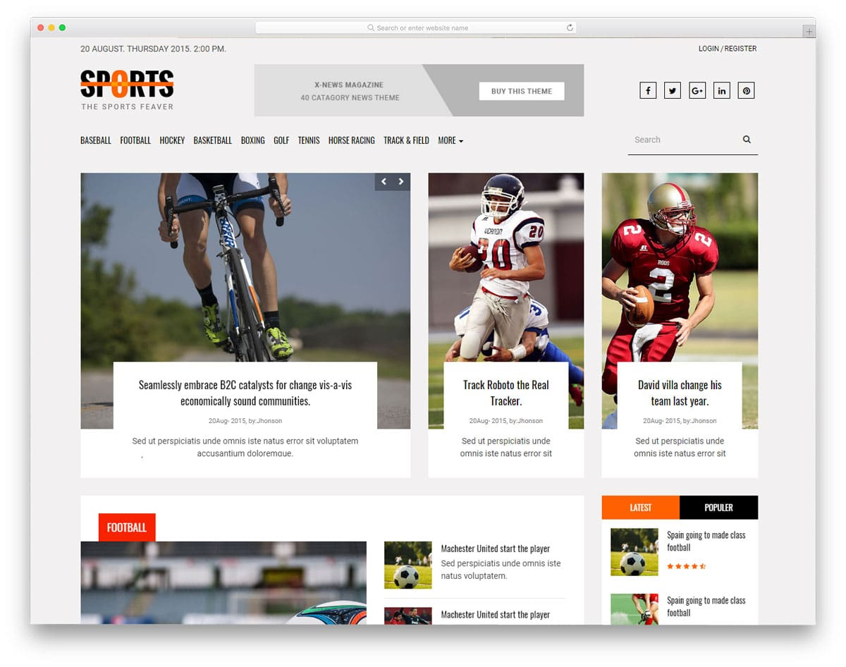 free blog website template for sports blogs