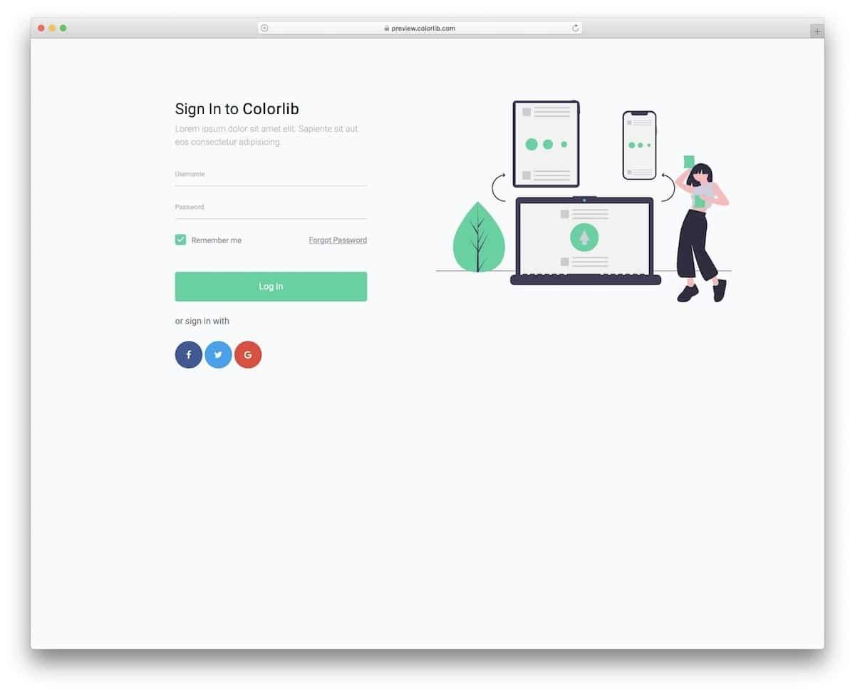 free trendy login forms