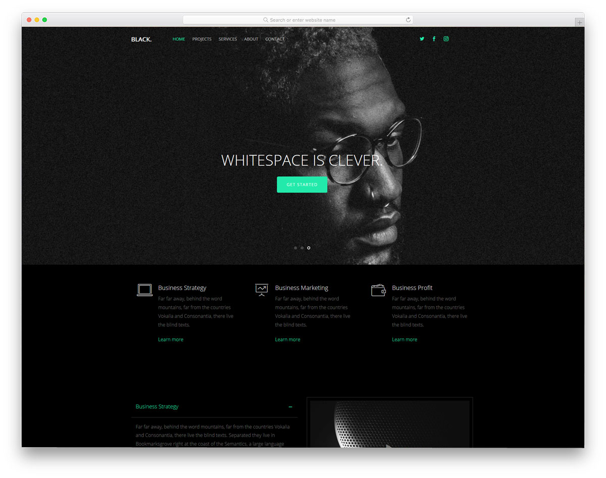 dark theme free portfolio website template