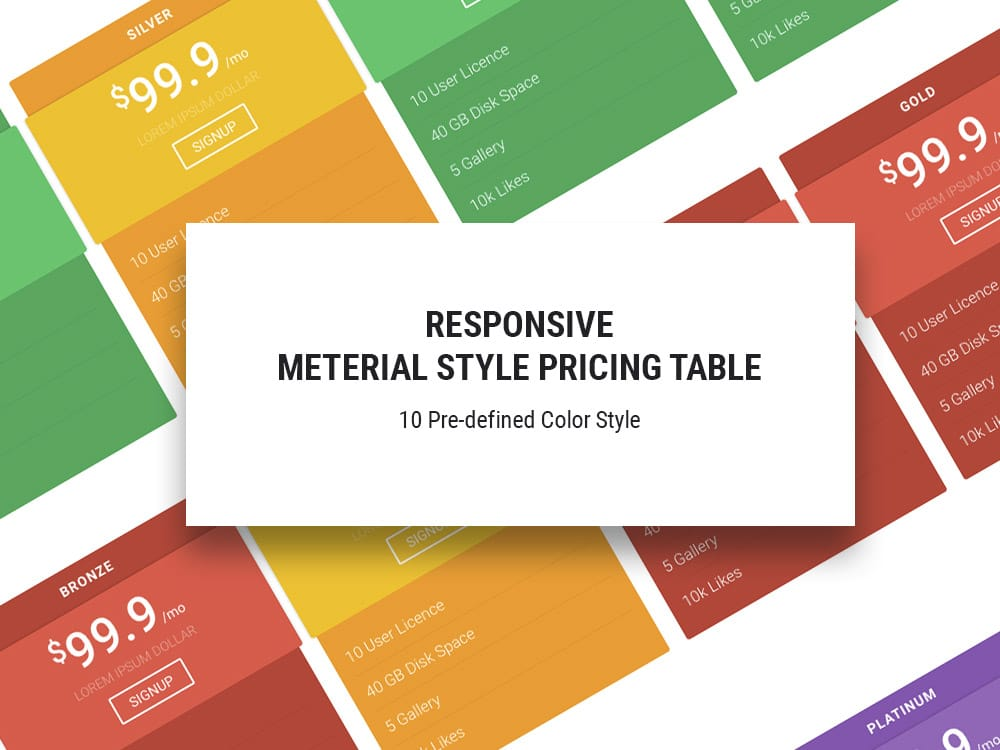 HTML5 Responsive Pricing Table Template