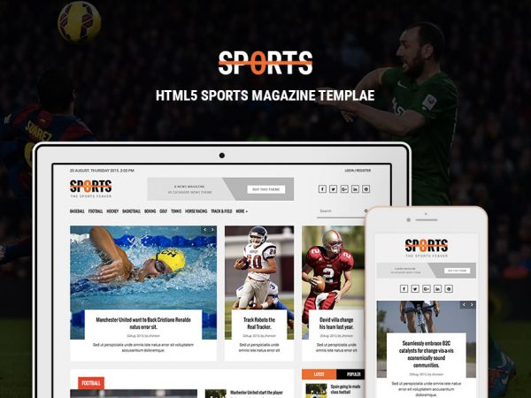sports news portal HTML Magazine Template
