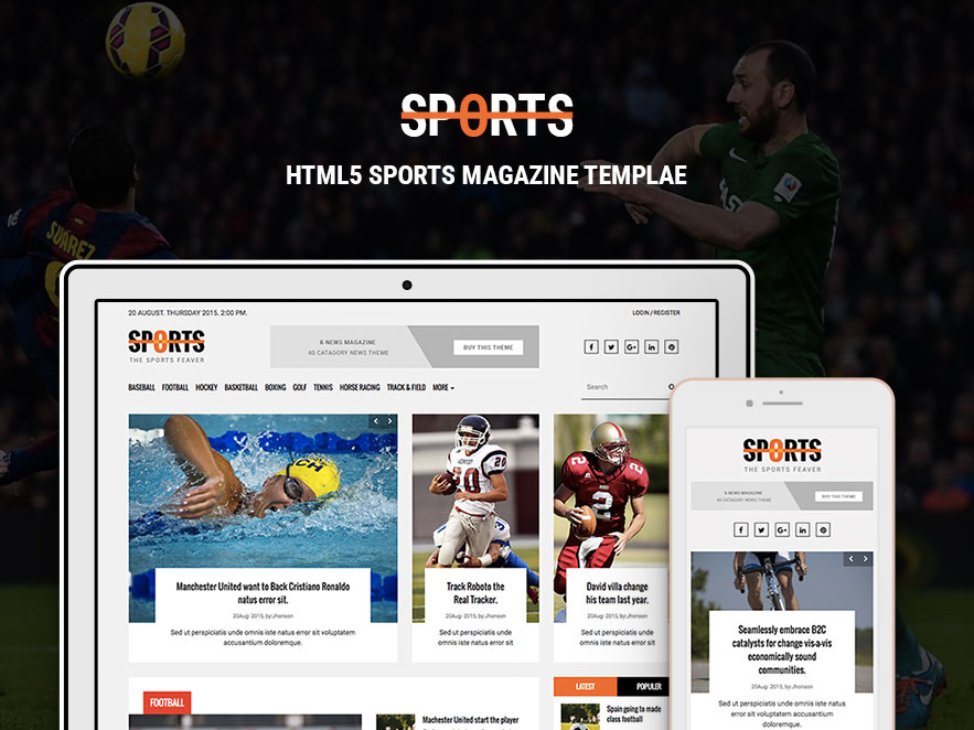 Sports News Portal - Free Bootstrap HTML Magazine Template