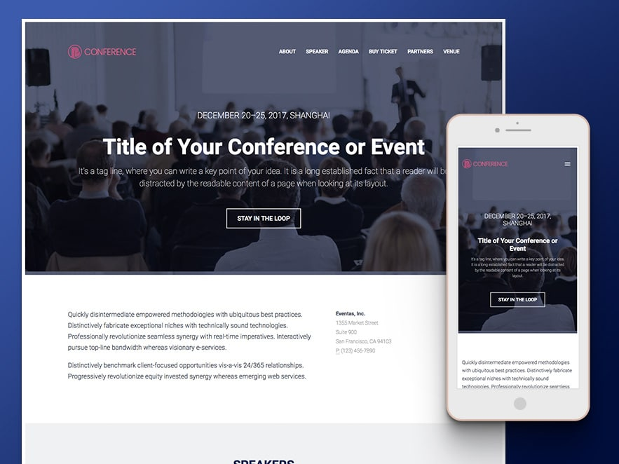 conference event management html5 template free download