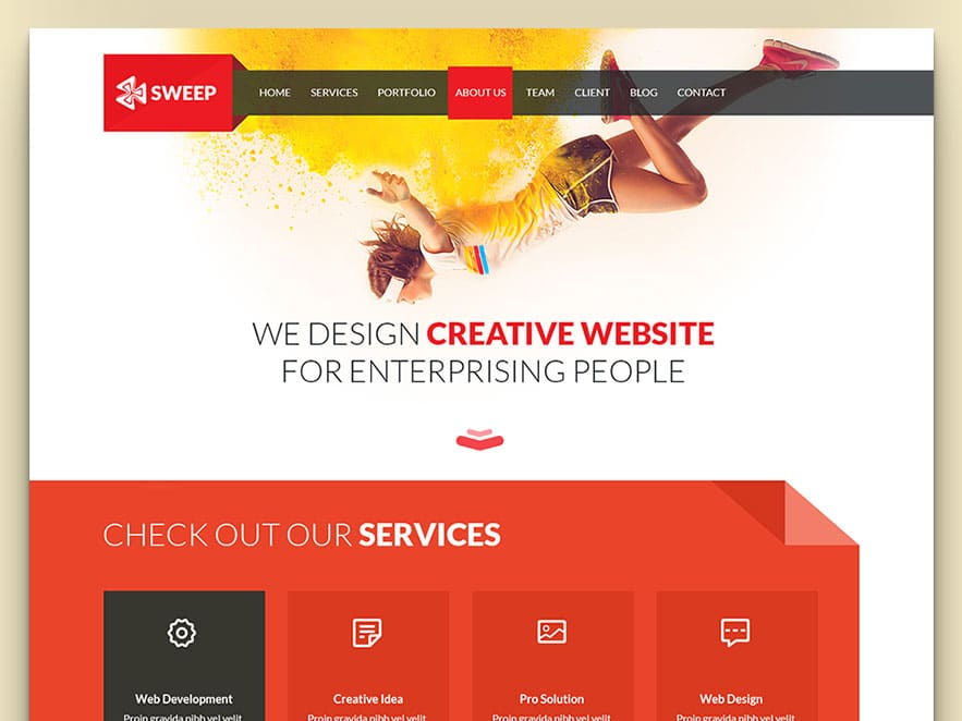 Sweep html5 css3 flat free business website template uicookies responsive one page free business website template built with html5 css3 and bootstrap 3 flashek Image collections