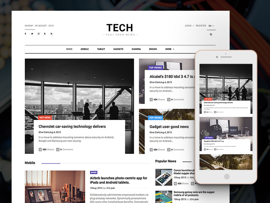 Technews html5 magazine website template