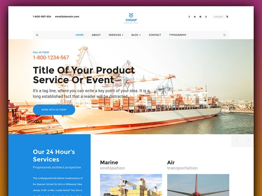 Unship - Free Trucking-Transportation & Logistics HTML Template