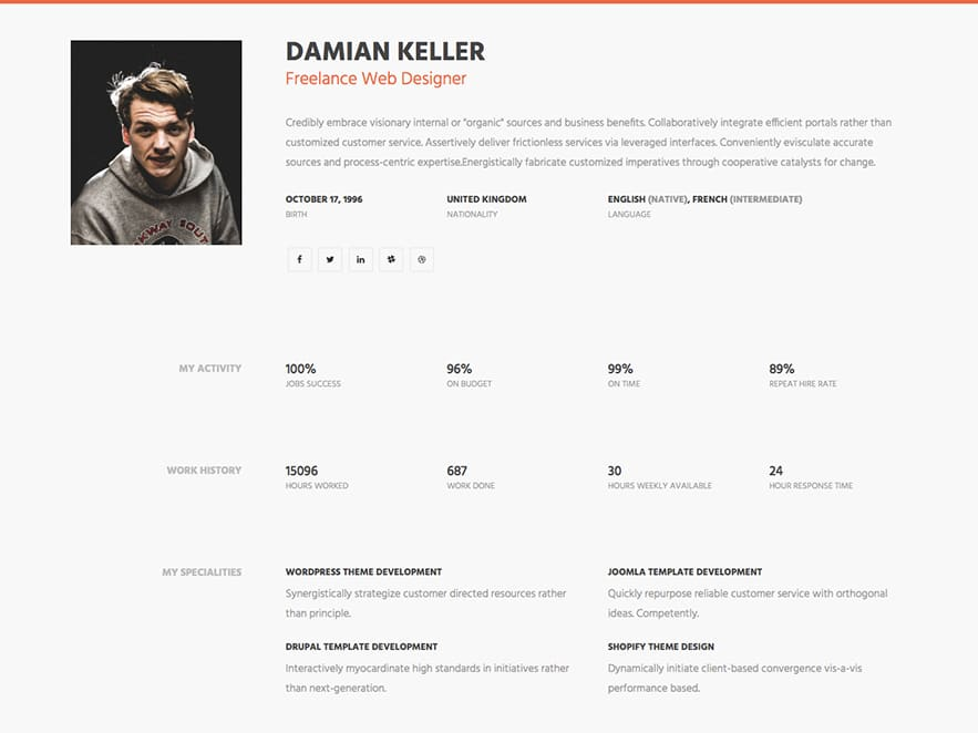 Superb Simple HTML Resume Website Template