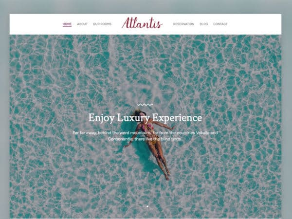 Atlantis Hotel Free HTML5 Template Using Bootstrap Framework