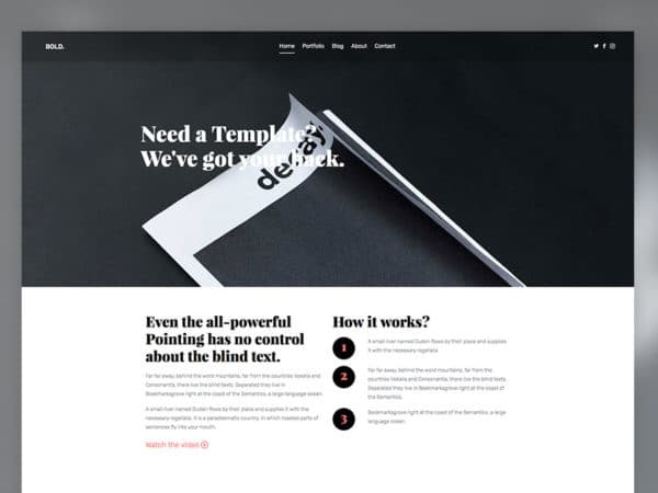 Bold Free HTML5 Template Using Bootstrap Multi Purpose Template