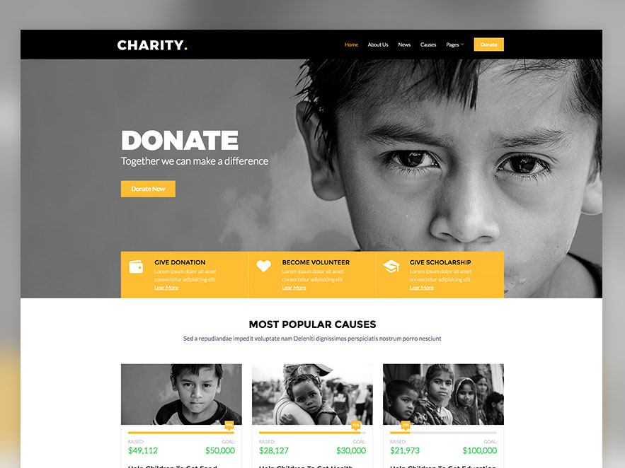 charity free non profit responsive bootstrap website template
