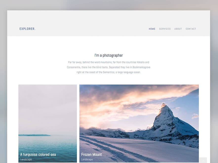 Explorer Free Photography Website Template Using Bootstrap