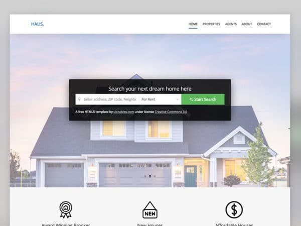 Haus Free Real Estate HTML5 Website Template