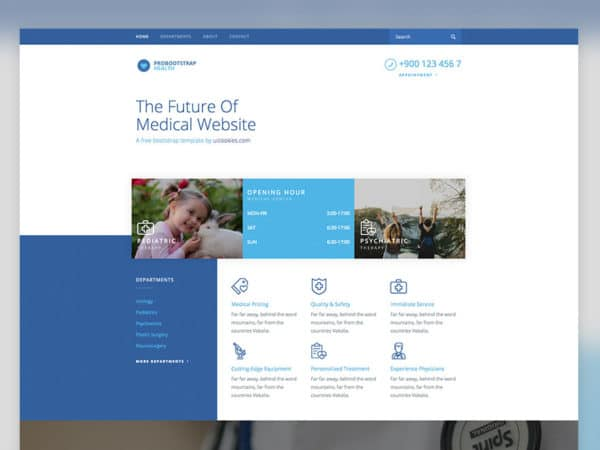 Health Free Medical Template Using Bootstrap 4 Framework