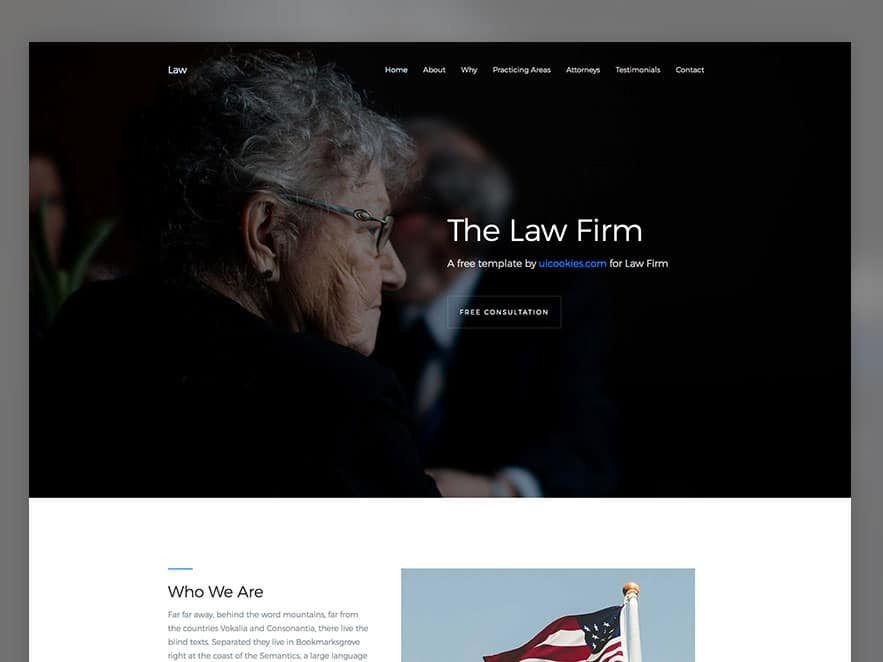 Law Free Template Using Bootstrap 4 Framework