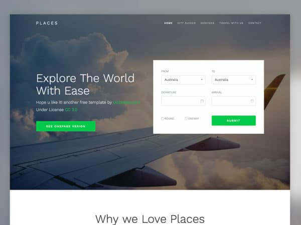 Places Free Bootstrap 4 template for Travel Agency